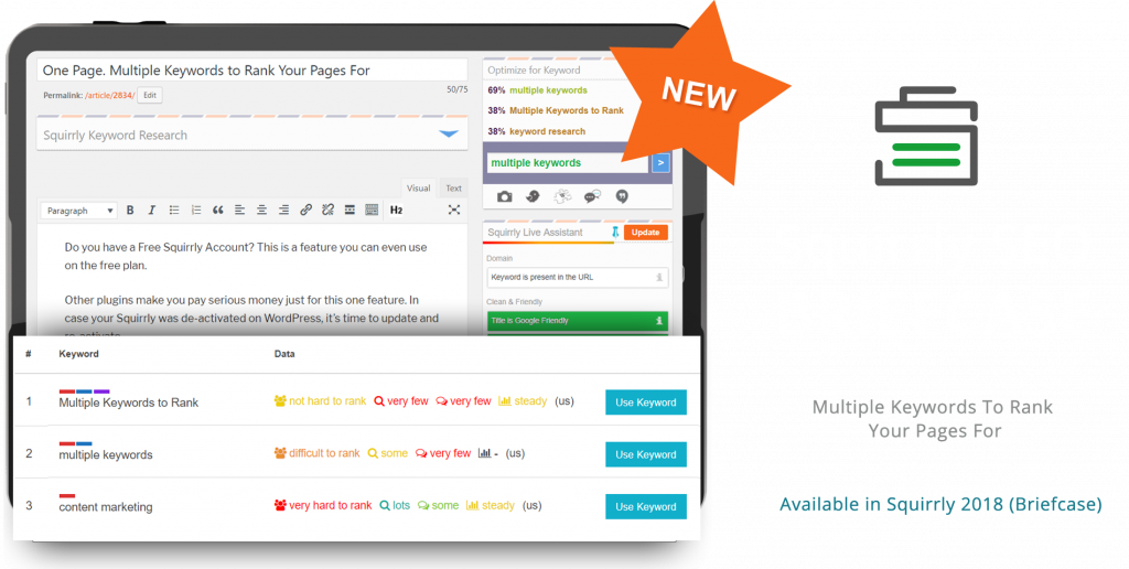 Squirrly Briefcase - Multiple Keyword Optimization